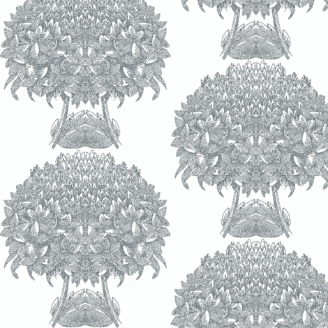 Hydrangea Topiary Grey Wallcovering