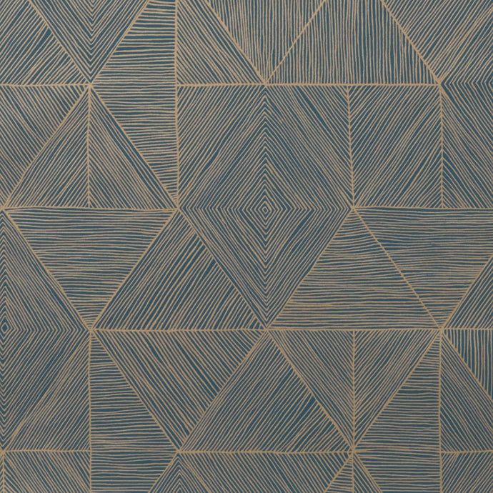 Mica - Gold on Blue Wallcovering