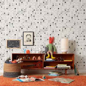 100 Things Black on White Wallcovering