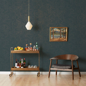 Contour - Gold on Blue Wallcovering