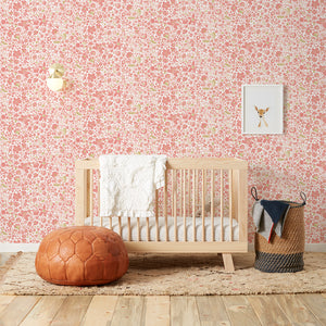 Perennial  Pink on Off White Wallcovering