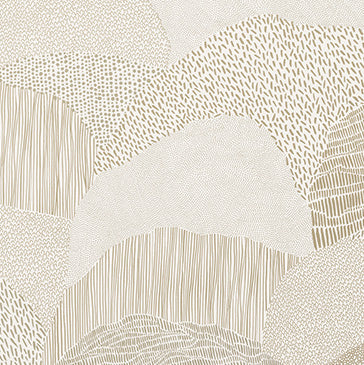 Roll Right - Gold on White Wallcovering
