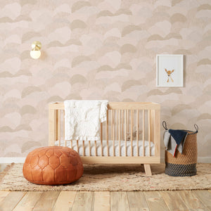 Roll Right - Gold on Blush Wallcovering