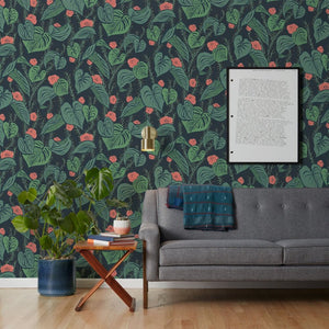 Tangle - Dark Green Wallcovering