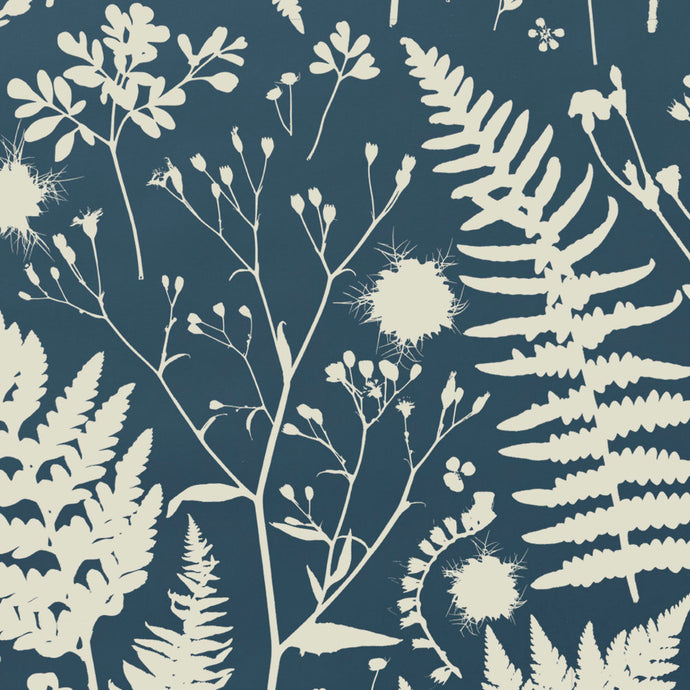 Forage - Parchment on Blue Wallcovering