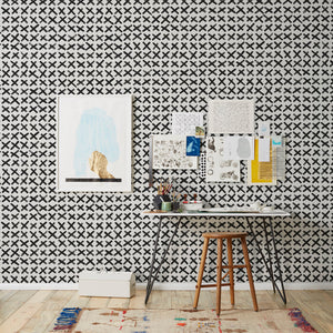 Slash - Black on Grey Wallcovering