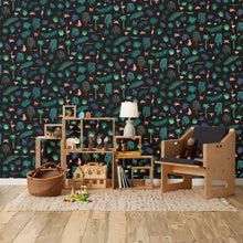 Load image into Gallery viewer, Wild - Bright on Black Wallcovering