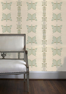 Mariposa in Verde Grasscloth Wallcovering