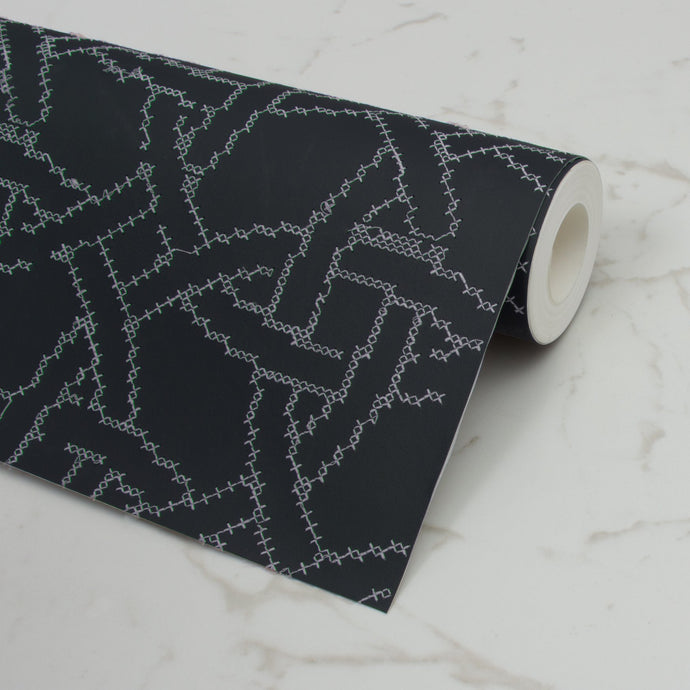 New Cross Embroidered Navy Wallcovering