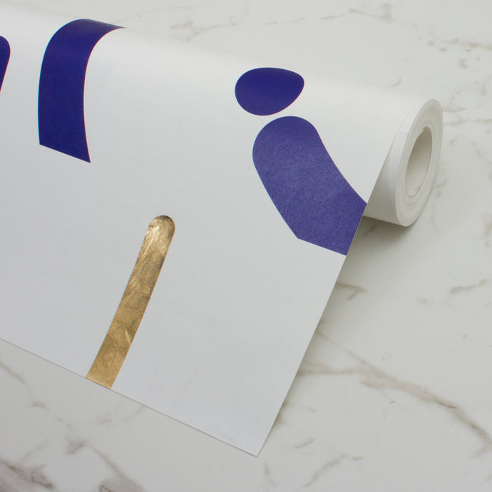 Offset Navy+Gold Wallcovering