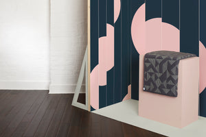 Offset Tape Navy Wallcovering