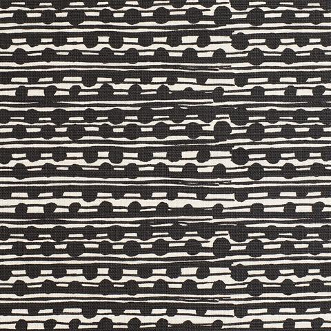 Gamal Black On Natural Linen Fabric