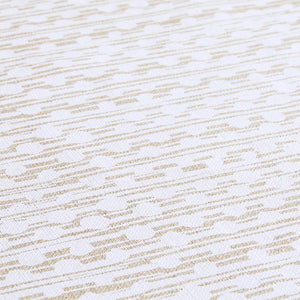 Gamal White On Natural Linen Fabric