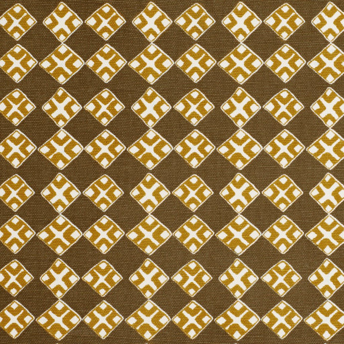 Kiya Ochre on Ecru Fabric
