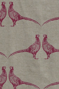 Pheasant - Pink on Natural Fabric