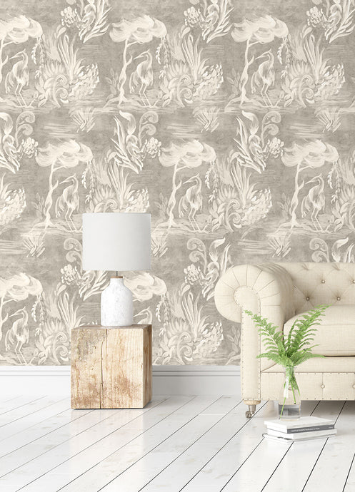 River Story - Champagne Grasscloth Wallcovering