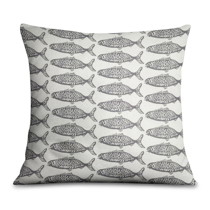 School O Fish Gray Pillow