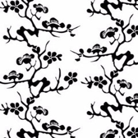 Geisha Black on White Commercial Grade Wallpaper