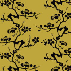 Geisha Black on Gold Commercial Grade Wallpaper