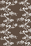 Geisha White on Chocolate Commercial Grade Wallpaper