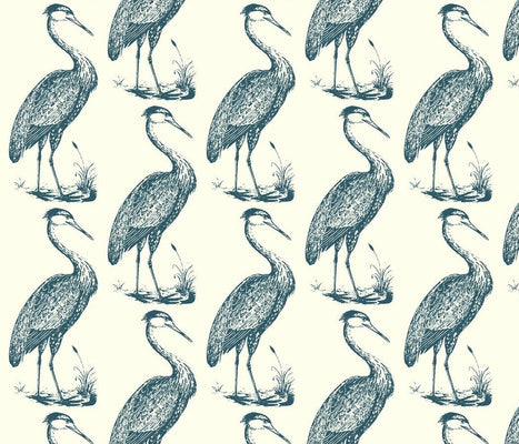 Large Blue Heron Eggshell Wallcovering