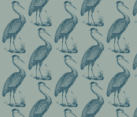 Large Blue Heron Lawn Chair Prussian Wallcovering