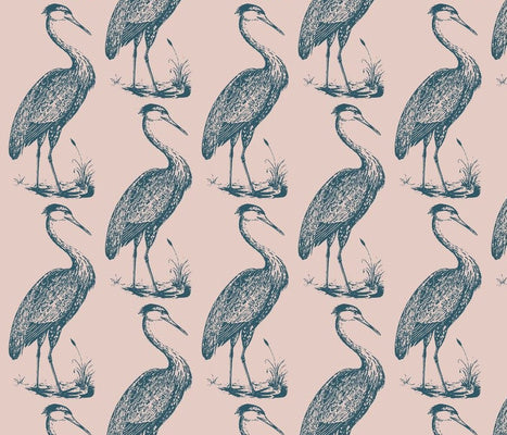 Large Blue Heron Mill Pink Prussian Wallcovering