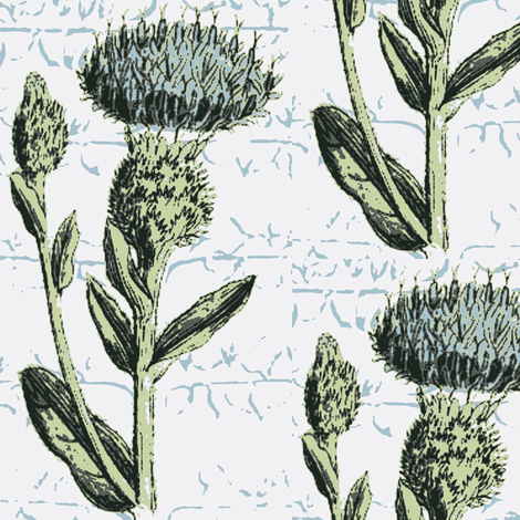 Espalier Thistle White Minty Blues Wallcovering