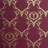 Deer Damask Claret Gold Wallpaper