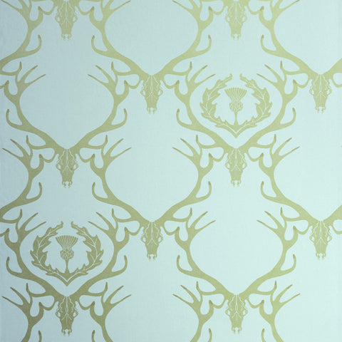 Deer Damask Duck Egg Blue Antique Gold Wallpaper