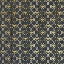 Load image into Gallery viewer, Honey Bees Gold On Charcoal Wallpaper