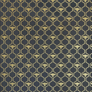 Honey Bees Gold On Charcoal Wallpaper