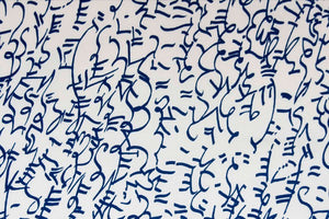 Calligraphy Ink Blue and White Fabric