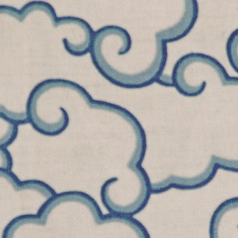 Clouds Clear Blue Oatmeal Fabric