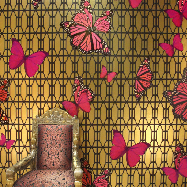 Butterflies On Gate Magenta Type ll Wallcovering