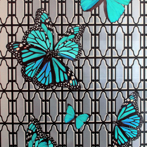 Butterflies On Gate Turquoise Type ll Wallcovering