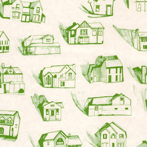 Houses Green Cream Wallcovering