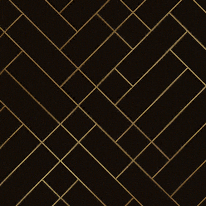 Tapet Cafe Tile Brown Gold Wallcovering