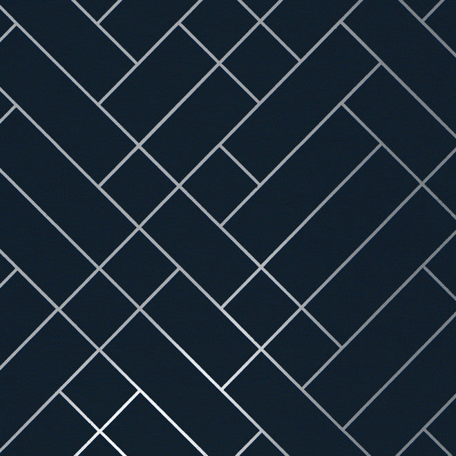 Tapet Cafe Tile Navy Silver Wallcovering