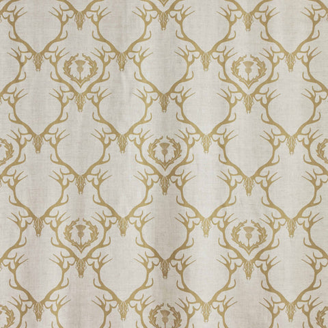 Deer Damask - Gold Fabric