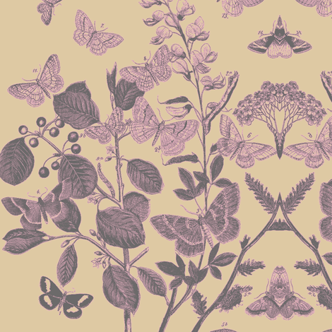 Flutter Wheat Lavender Fabric