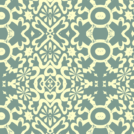 Small Geo Dusty Teal Fabric
