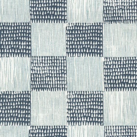 Guinea Plaid Navy Cornflower Fabric