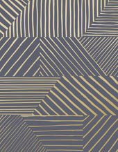 Load image into Gallery viewer, Parquet- Gold on Charcoal Wallcovering
