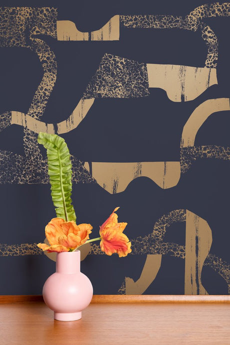 La Strada - Gold on Charcoal Wallcovering