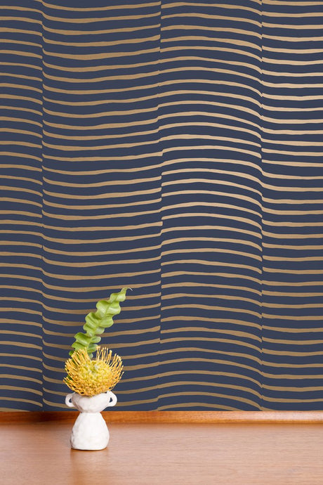 Waving - Gold on Charcoal Wallcovering