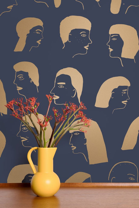 Women - Gold on Charcoal Wallcovering