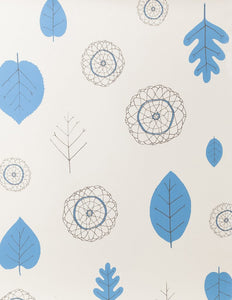 A View of The Woods Delft Blue and Mink on Cream Wallcovering
