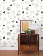 Load image into Gallery viewer, After Chinterwink Charcoal and Silver on Cream Wallcovering
