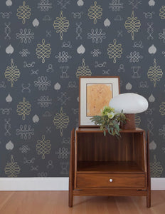 After Chinterwink Silver and Gold on Charcoal Wallcovering